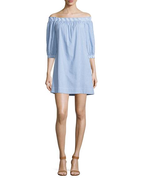 Trina Turk Off-The-Shoulder Striped Shift Dress, White/Blue