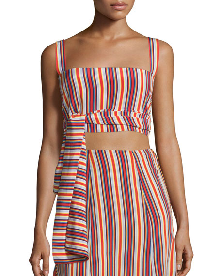 Frederick Silk Striped Crop Top, Multicolor