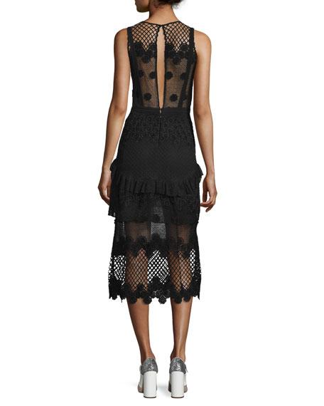 Alexis Zuzanna Sleeveless Embroidered Midi Dress, Black
