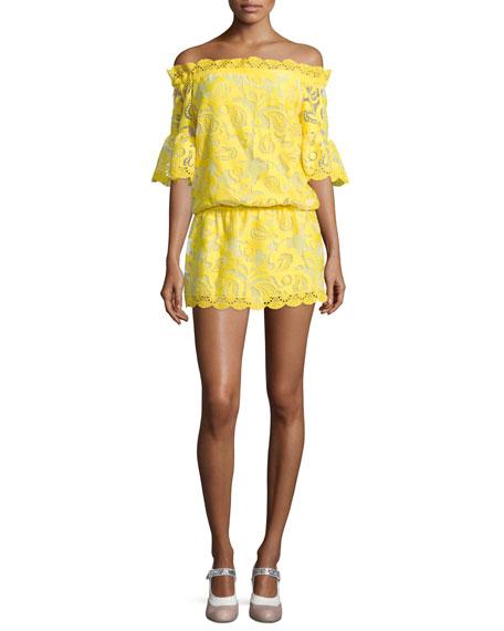 Alexis Kit Blouson Off-the-Shoulder Lace Dress, Yellow