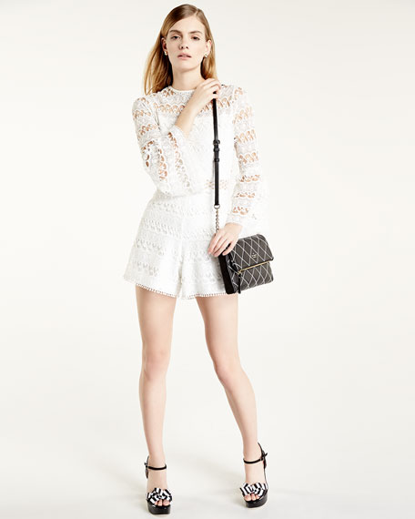 Jinna Lace Bell-Sleeve Romper, White