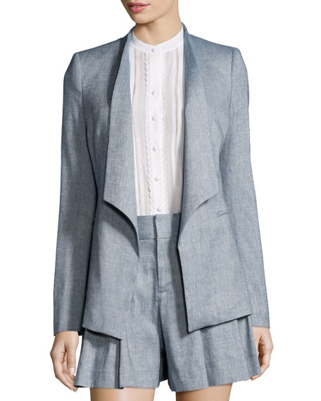 Allison Draped-Collar Chambray Blazer, Blue