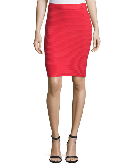 T by Alexander Wang Ribbed Ponte Pencil Skirt, Cherry