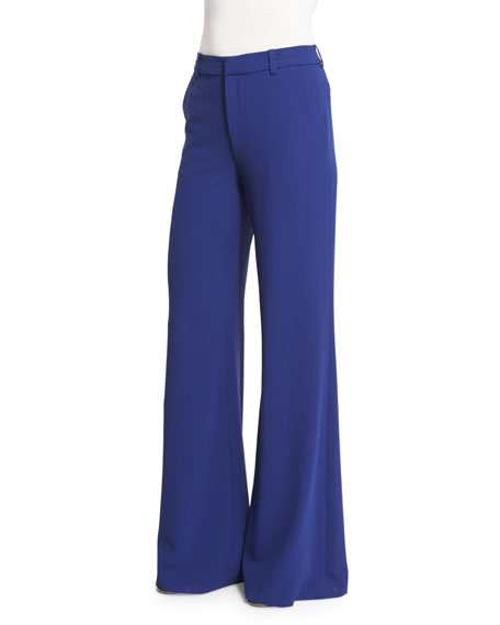 Alice + Olivia Paula High-Rise Wide-Leg Pants, Blue