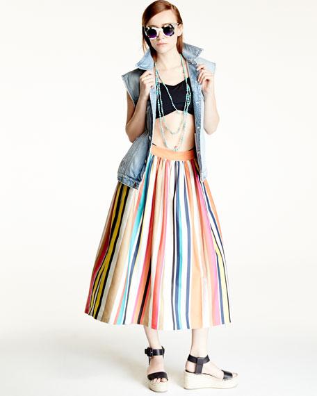 Alice   Olivia Nikola Striped High-Waist Midi Skirt, Multicolor