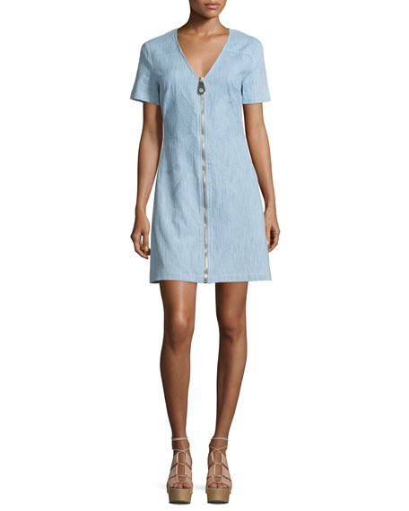 Tanya TaylorMadeline Zip-Front Chambray Shift Dress, Light Denim