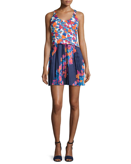 Tanya Taylor Lydia Printed Twill & Silk Dress,