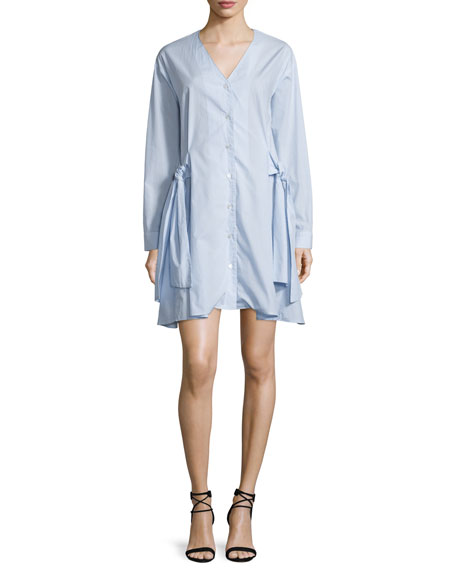 Tanya Taylor Mirabelle Striped Poplin Menswear Shirting Dress, Sky