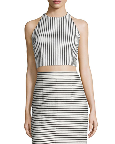 Jaymee Striped Cropped Halter Top, Black/White