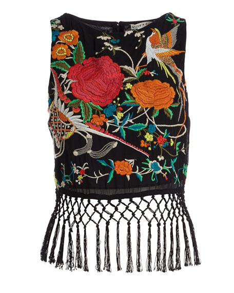Clarice Sleeveless Embroidered Fringe Crop Top, Black/Multicolor