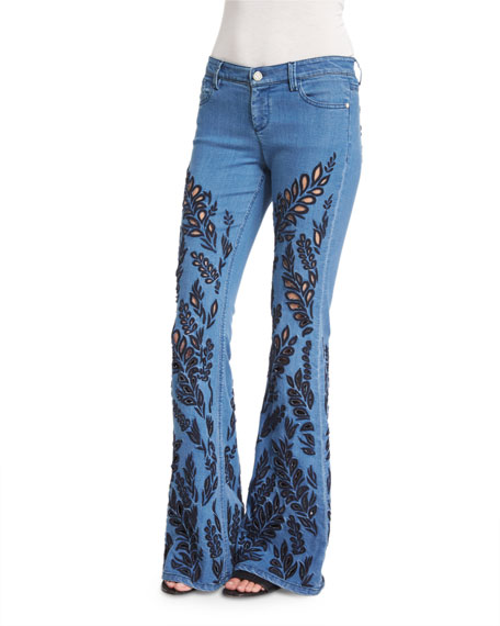 Ryley Embroidered Flare Jeans, Light Blue
