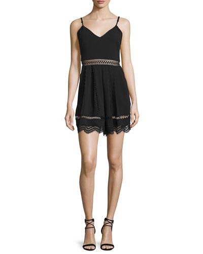 Sleeveless Crepe Lace-Trim Romper, Black