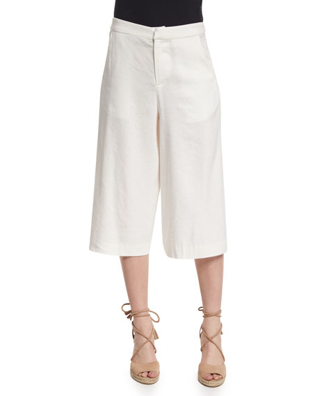 Alice + Olivia Marlena Low-Rise Linen-Blend Gaucho Pants, Cream