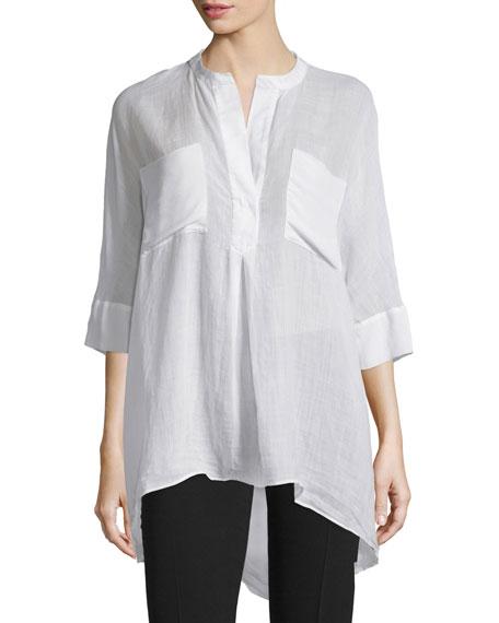 Joseph Heather 3/4-Sleeve Cotton Blouse, White