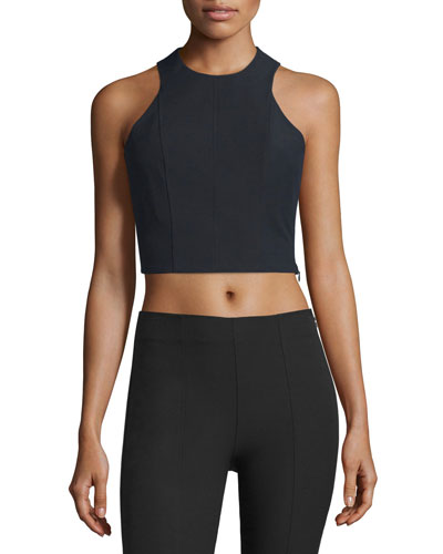 Stretch Suiting Sleeveless Crop Top, Black