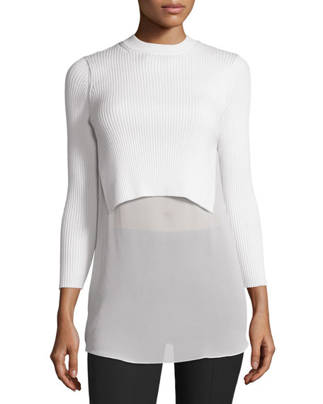 T by Alexander Wang Ribbed Georgette-Trim Pullover Sweater,