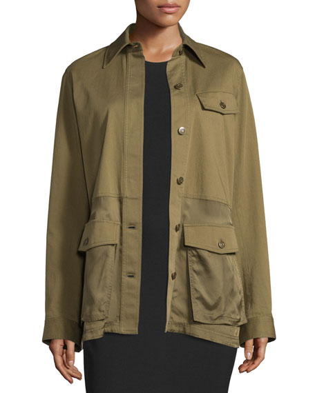 T by Alexander Wang Cotton-Stretch Military Parka Jacket,