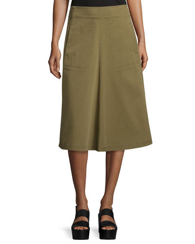 Washed Twill A-Line Midi Skirt, Fatigue