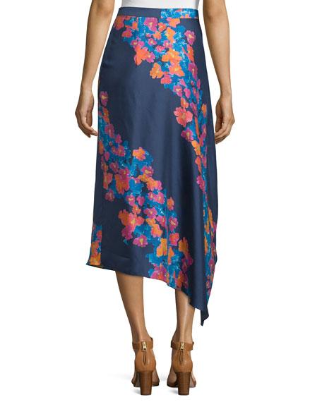 June Silk Twill Diagonal Pop Midi Skirt, Indigo