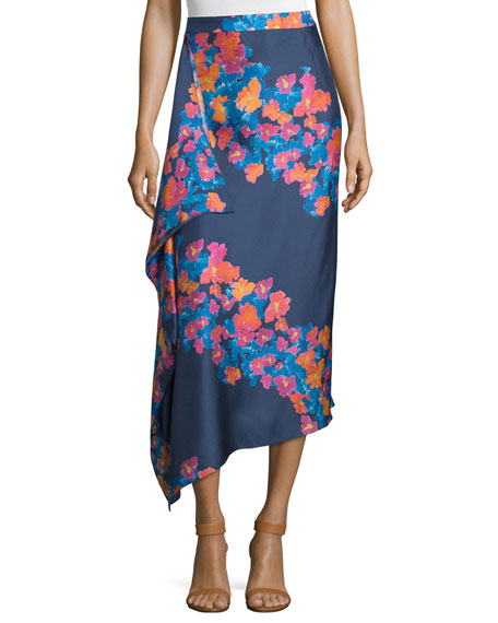 Tanya Taylor June Silk Twill Diagonal Pop Midi Skirt, Indigo