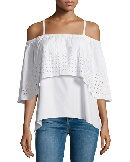 Tanya Taylor Ione Luxe Poplin Cold-Shoulder Eyelet Top, White