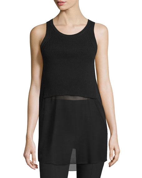 T by Alexander Wang Ribbed Knit/Georgette Combo Racerback
