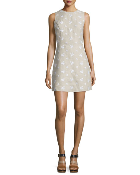 MICHAEL Michael Kors Sleeveless Floral-Embroidered Linen Dress, Natural