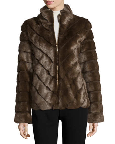 Ellen Tracy Grooved Faux-Fur Jacket, Brown