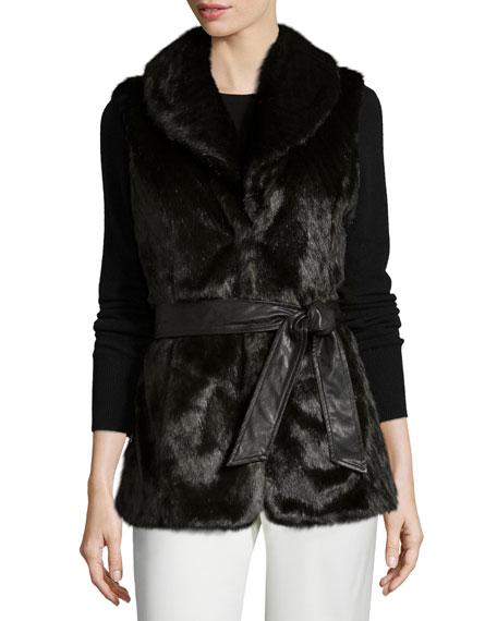 Ellen Tracy Faux-Mink-Fur Belted Vest, Espresso