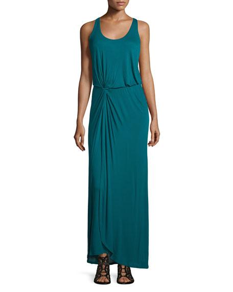 Halston Heritage Sleeveless Twist-Front Maxi Dress, Dark Emerald
