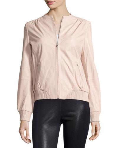 Halston Heritage Zip-Front Leather Bomber Jacket, Petal