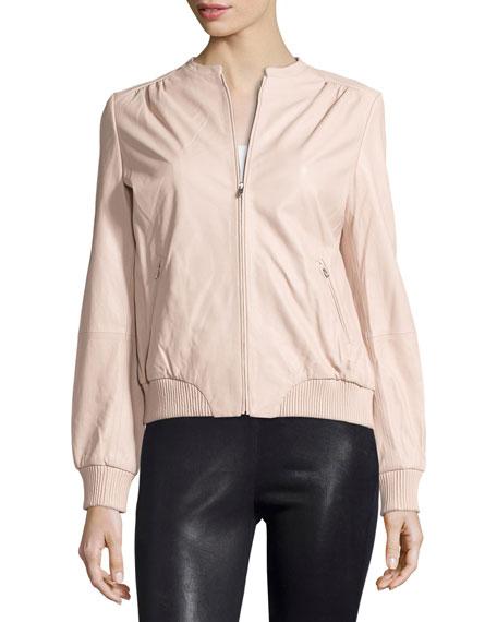 Zip-Front Leather Bomber Jacket, Petal