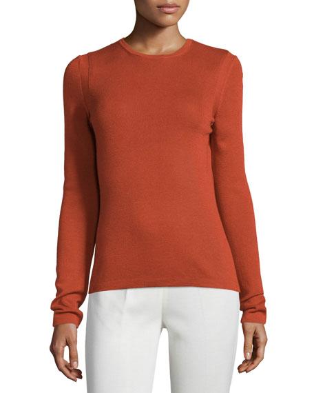Carolina Herrera Classic Cashmere-Blend Sweater, Brick
