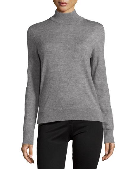 Carolina Herrera Classic Cashmere Turtleneck Sweater, Dark Gray