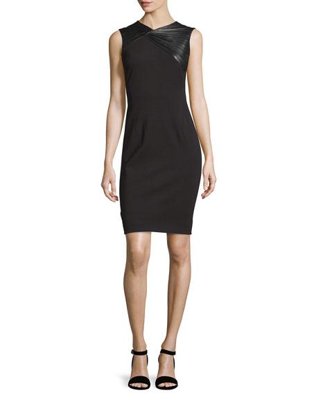 Sleeveless Pleated-Yoke Sheath Dress, Black