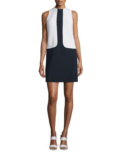 Sleeveless Colorblock Shift Dress, Navy/White