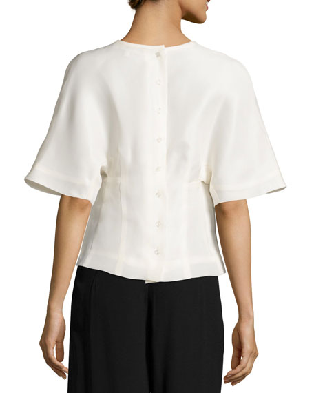 Kimono-Sleeve Gazar Blouse, Ecru