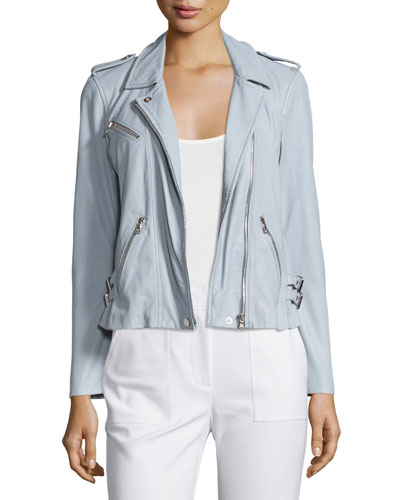 Washed Leather Moto Jacket, Light Blue
