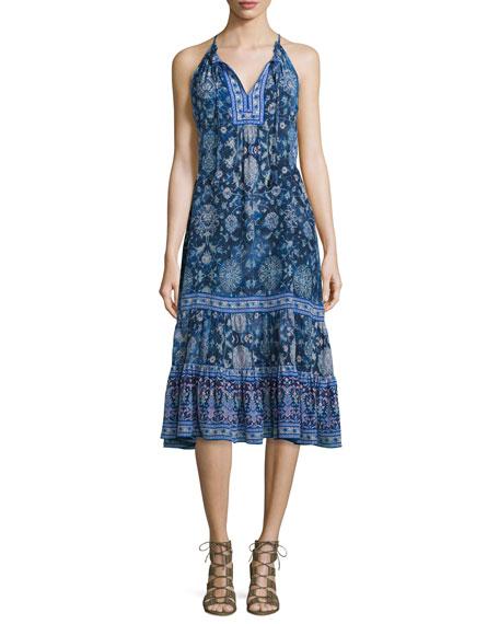 Sleeveless Silk Dreamweaver Midi Dress, Indigo Combo