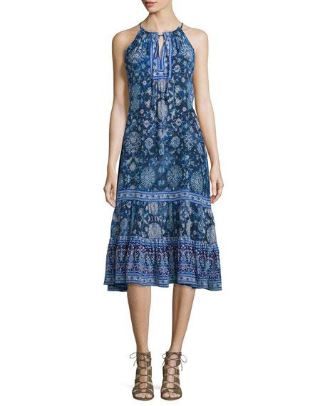 Rebecca Taylor Sleeveless Silk Dreamweaver Midi Dress, Indigo Combo
