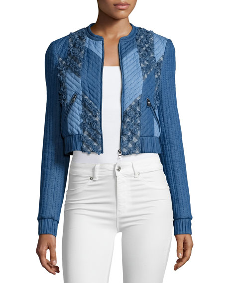 Rebecca Taylor Cropped Chambray-Trim Quilted Patchwork Jacket, Blue