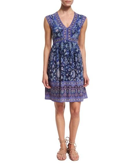 Rebecca Taylor Sleeveless Silk Dreamweaver Dress, Indigo