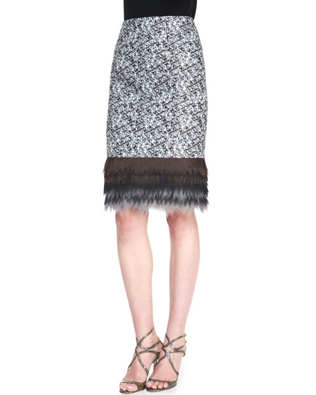Carolina Herrera Pixelated Pencil Skirt, Ivory/Black/Copper