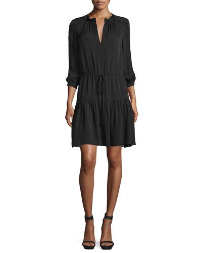 3/4-Sleeve Tiered Silk Georgette Dress, Black