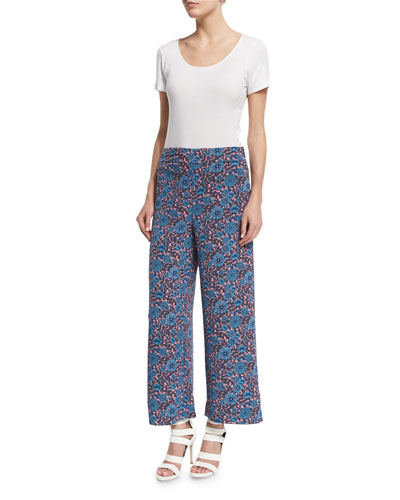 Lindsay Wide-Leg Cropped Floral Pants, Coral/Gray