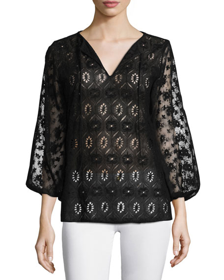 Alice + Olivia Carroll 3/4-Sleeve Eyelet Tunic, Black