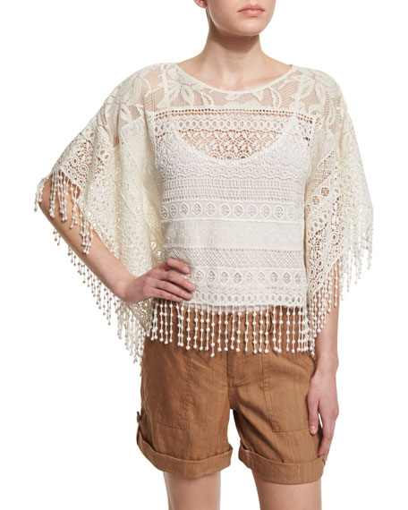 Alice + Olivia Danette Cotton Crochet Top &