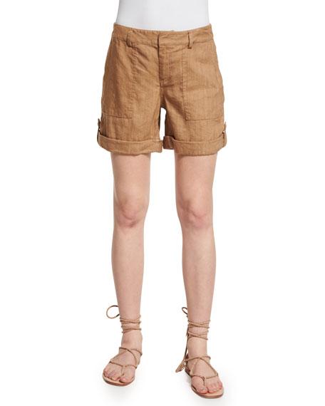 Alice + Olivia Zahra Linen-Blend Cargo Shorts, Tan