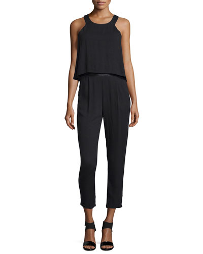 Ella Moss Stella Sleeveless Popover Jumpsuit. Black