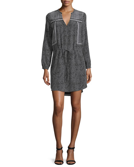 Rebecca Taylor Long-Sleeve Silk Patchwork Dress, Black/Cream